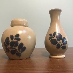 Pfaltzgraff Folk Art Bud Vase and Potpourri Jar